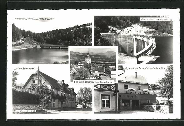AK Edelschrott a. d. Packstrasse, Hierzmannsperre, Stausee, Gasthof Reinthaler, Dependance u. Kino