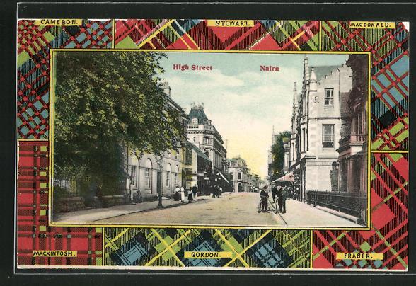 Passepartout-AK Nairn, High Street, Schottenmuster