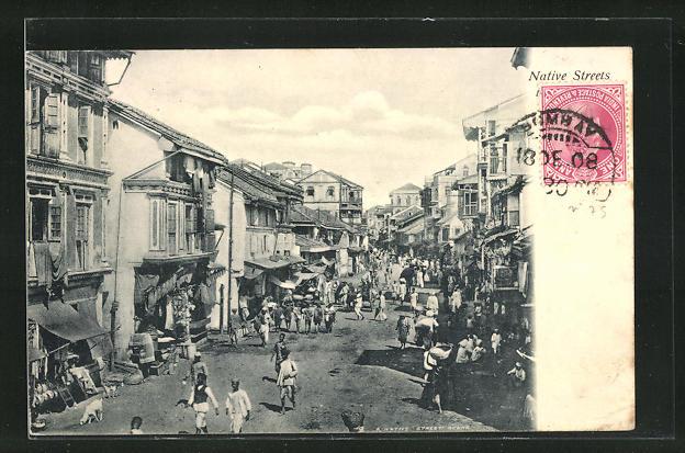 AK Bombay, Native Streets mit Anwohnern