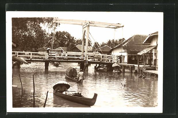 AK Borneo, Ortspartie mit Brücke