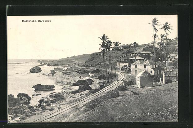 AK Bathsheba, Hütten und Palmen am Strand