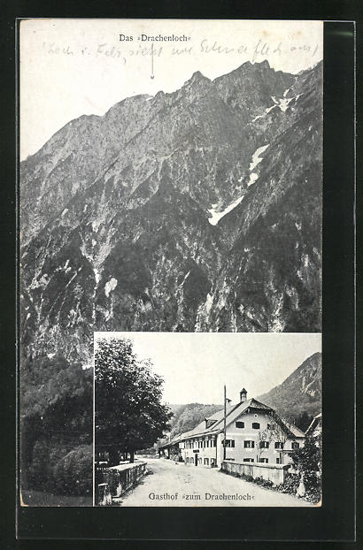 AK St. Leonhard, Gasthof zum Drachenloch, Gebirgspanorama mit Drachenloch