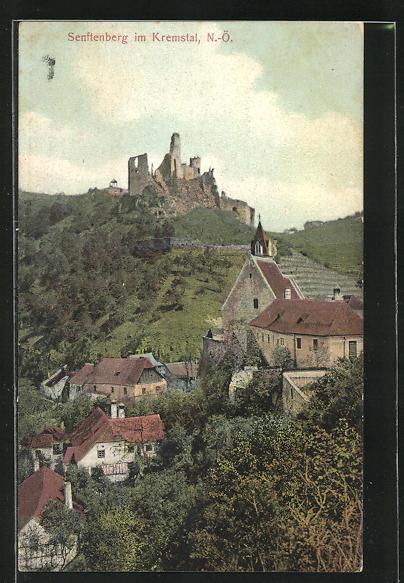 AK Senftenberg im Kremstal, Panorama mit Burgruine