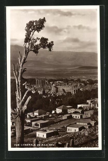 AK Baalbek, Blick zu den antiken Ruinen