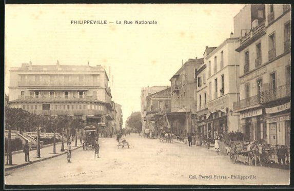 AK Philippeville, La Rue Nationale, Strassenpartie
