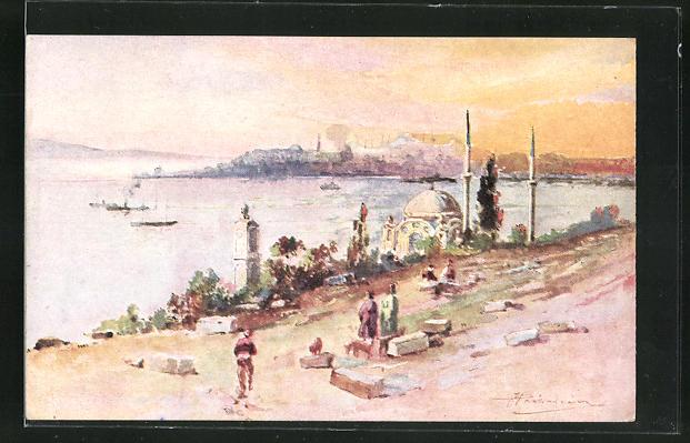 AK Constantinople, La pointe du Serail vue des Pierres