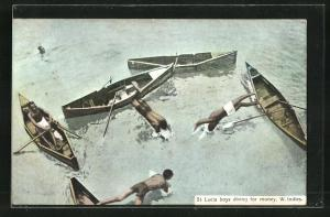 AK St. Lucia-W. Indies, Boys diving for money