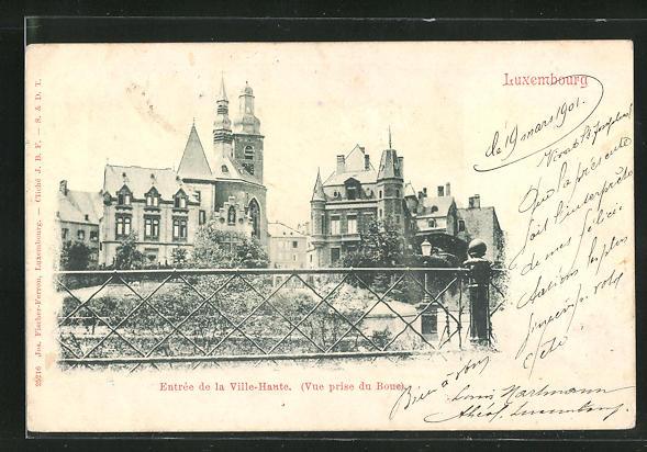 AK Luxembourg, Entree de la Ville-Haute, Vue prise du Boue
