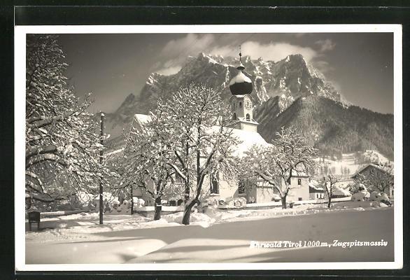 AK Ehrwald, Winterblick zum Zugspitzmassiv