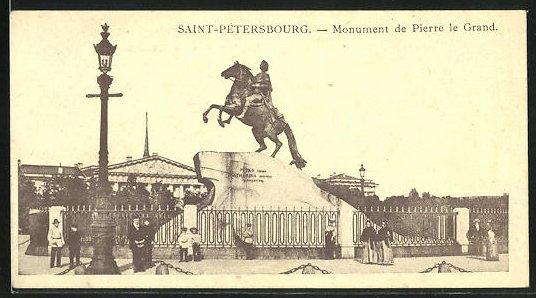 AK Saint-Petersbourg, Monument de Pierre le Grand