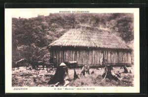 AK Equateur, Missions Salesiennes, Une Malocca chez les Kivaros