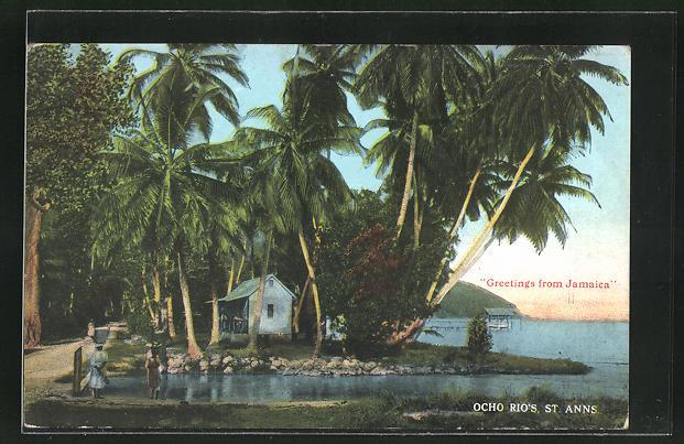 AK Ocho Rios, Ortspartie am Ufer mit Palmen
