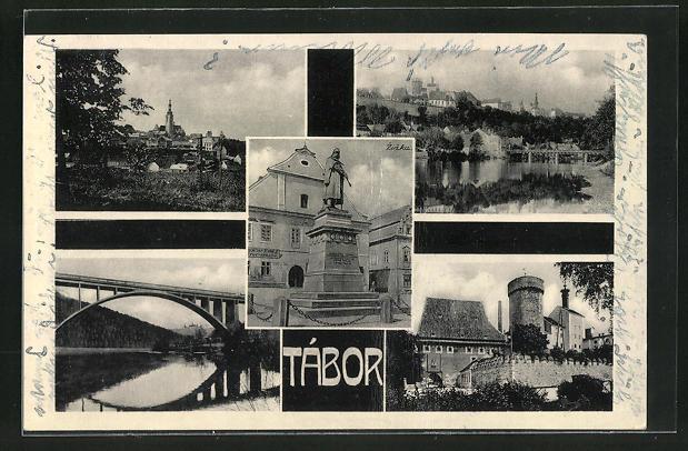 AK Tabor, Brücke, Schloss, Denkmal