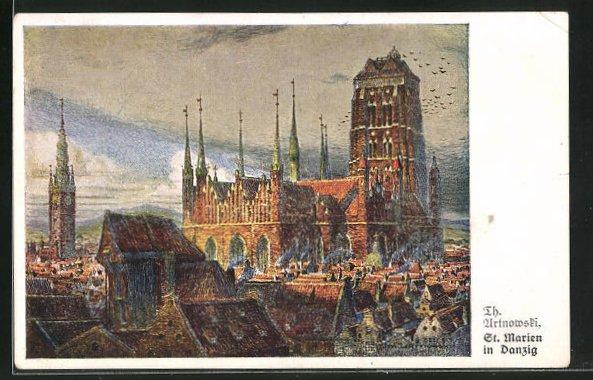 Künstler-AK Danzig / Gdansk, Blick auf St. Marien-Kirche