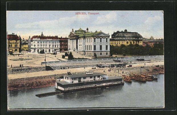 AK Szeged, Tiszapart, Teilansicht mit Badeanstalt