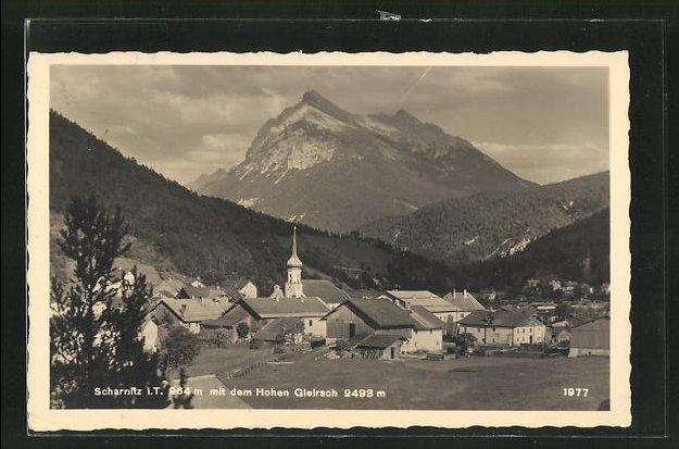AK Scharnitz, Ortsansicht gegen den Hohen Gleirsch