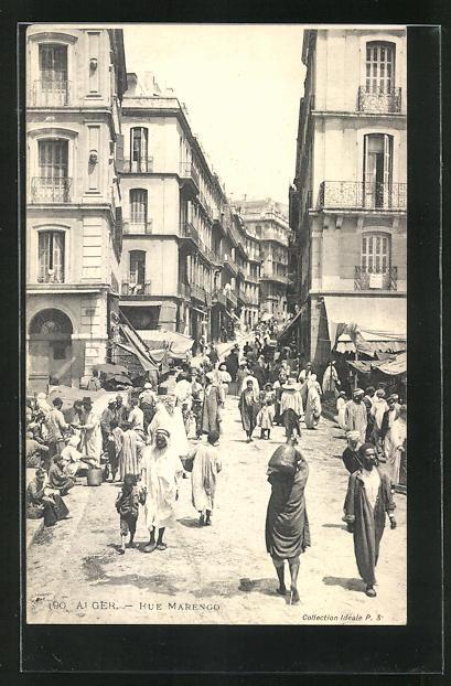 AK Alger, Rue Marengo, Strassenpartie