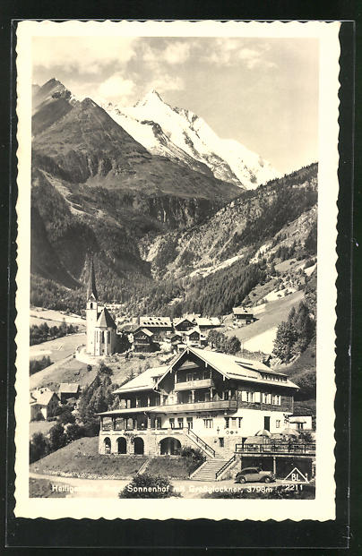AK Heiligenblut, Hotel Sonnenhof mit Grossglockner