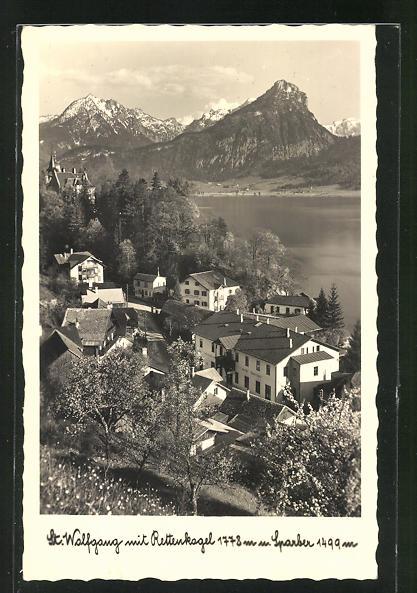AK St. Wolfgang, Teilansicht mit Hotel Cortisen gegen Rettenkogel