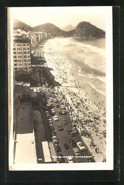 AK Rio de Janeiro, Copacabana, Blick auf den Strand