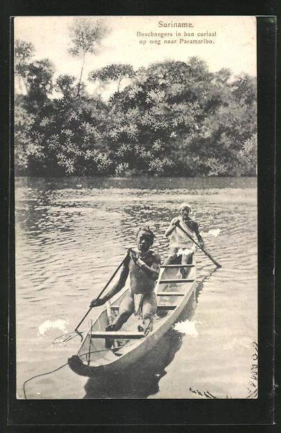 AK Suriname, Ureinwohner im Einbaum