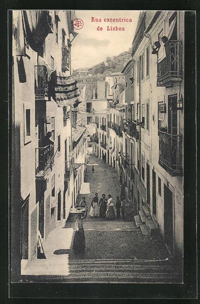 AK Lisboa, Rua excentrica, Strassenpartie mit Treppen
