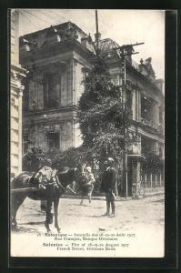 AK Salonique, Incendie de Aout 1917, Rue Franque, Banque Ottomane