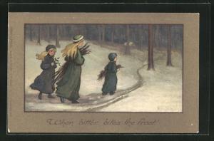 Künstler-AK S. Barham: When bitter bites the frost