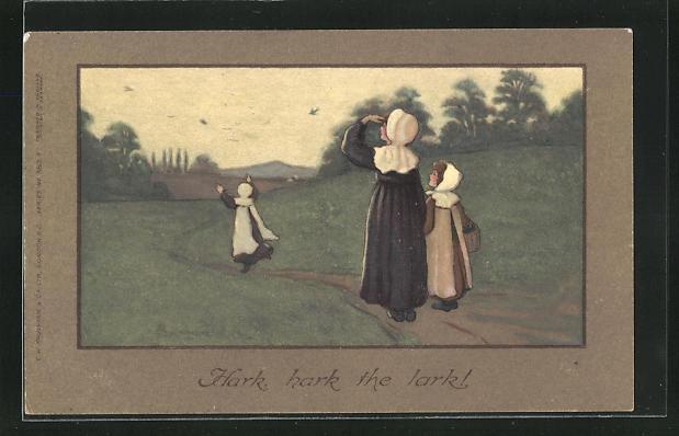 Künstler-AK S. Barham: Hark, hark the lark!, Dame u. zwei Mädchen auf einem Waldweg 0