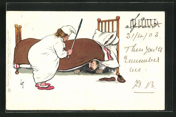 Künstler-AK L. Thackeray: Mann versteckt sich vor seiner Frau unterm Bett 0