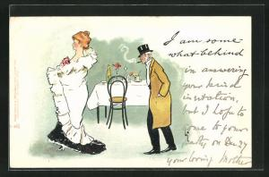 Künstler-AK L. Thackeray: Dame und Herr vor einem gedeckten Tisch