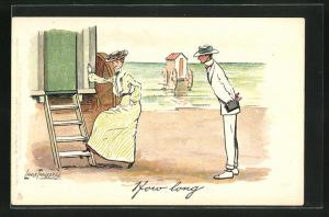 Künstler-AK L. Thackeray: Herr und Dame vor einem Umzugswagen am Strand