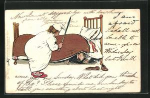 Künstler-AK L. Thackeray: Mann versteckt sich vor seiner Frau unterm Bett