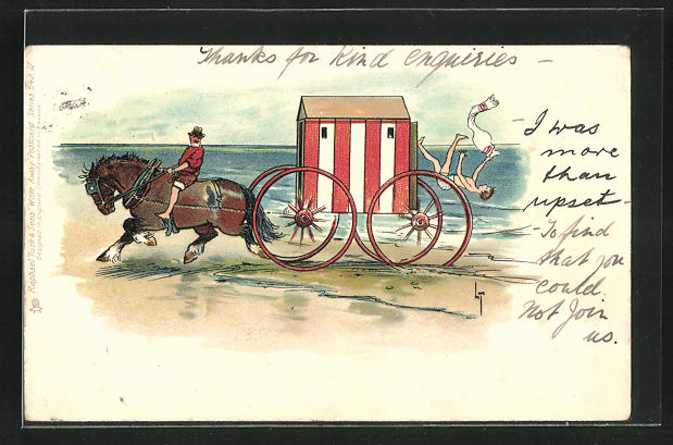Künstler-AK L. Thackeray: Mann fällt am Strand aus Umzugswagen mit Pferdegespann 0