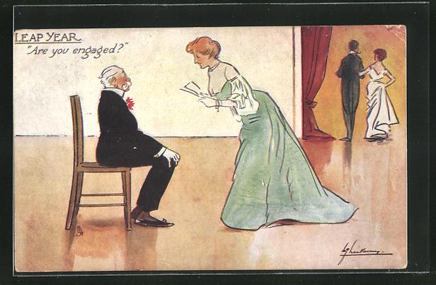 Künstler-AK L. Thackeray: Leap Year, Are you engaged, Dame im Ballkleid mit älterem Herrn auf einem Stuhl sitzend 0