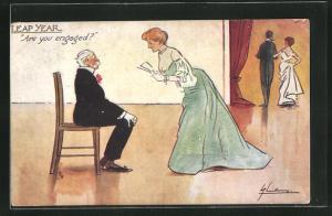 Künstler-AK L. Thackeray: Leap Year, Are you engaged, Dame im Ballkleid mit älterem Herrn auf einem Stuhl sitzend