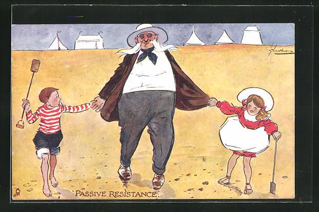 Künstler-AK L. Thackeray: Passive Resistance, Herr mit einem Mädchen und einem Jungen an der Hand am Strand 0