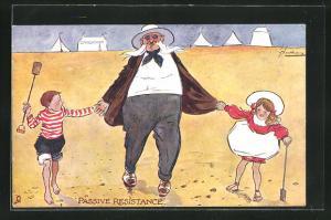Künstler-AK L. Thackeray: Passive Resistance, Herr mit einem Mädchen und einem Jungen an der Hand am Strand