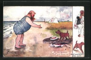 Künstler-AK L. Thackeray: Herr im Badeanzug am Strand spricht zu einem Hund
