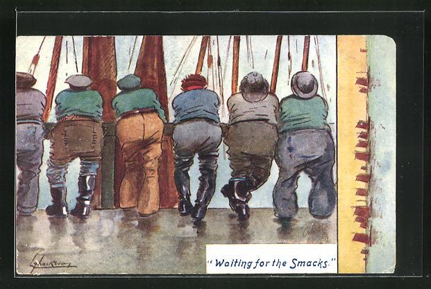 Künstler-AK L. Thackeray: Waiting for the Smacks, Rückenansicht von Männern auf der Reling 0