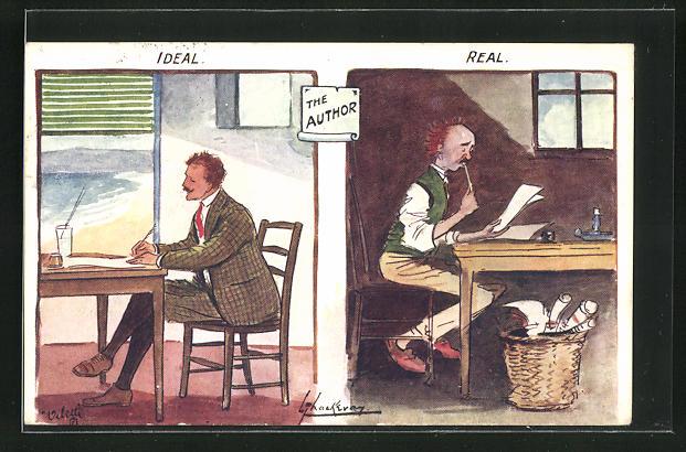 Künstler-AK L. Thackeray: The Author, Ideal and Real, Autor nach Idealvorstellung und in der Realität 0