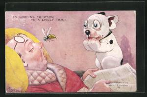 Künstler-AK George Ernest Studdy: Bonzo beobachtet eine Biene vor der Nase eines eingeschlafenen Mannes