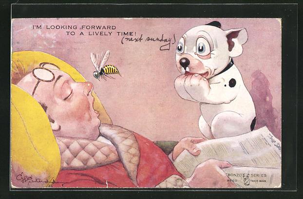 Künstler-AK George Ernest Studdy: Bonzo beobachtet eine Biene vor der Nase eines eingeschlafenen Mannes 0
