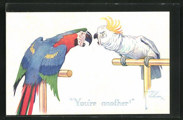 Künstler-AK Lawson Wood: You`re another, Papagei und Kakadu auf Stangen kommen sich ins Gehege 0