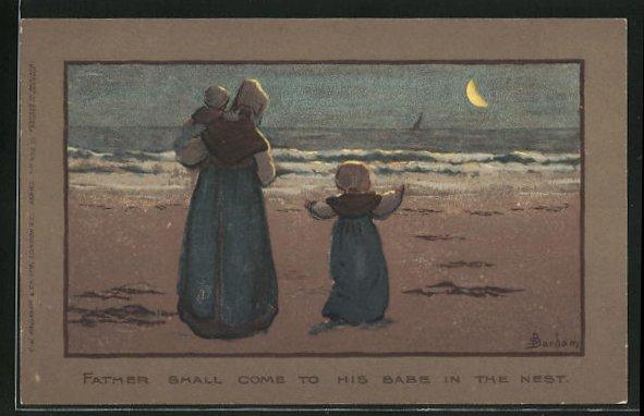 Künstler-AK S. Barham: Mutter mit Kind und Baby im Arm bei Mondschein am Strand 0