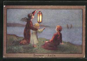 Künstler-AK S. Barham: Brown Sails, Mädchen mit Laterne am Ufer