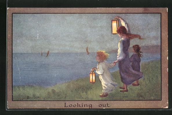 Künstler-AK S. Barham: Looking out, Mädchen mit Laterne am Ufer 0