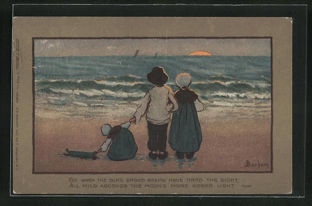Künstler-AK S. Barham: Junge und Mädchen in Holzschuhen mit Schwesterchen und Puppe am Strand 0