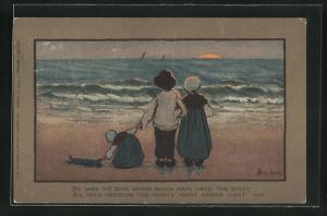 Künstler-AK S. Barham: Junge und Mädchen in Holzschuhen mit Schwesterchen und Puppe am Strand
