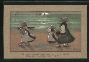Künstler-AK S. Barham: Junge Frau mit Korb und zwei Mädchen in Holzschuhen am Strand